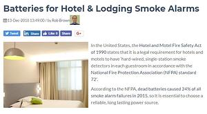 Batteries for Hotel & Lodging Smoke Alarms